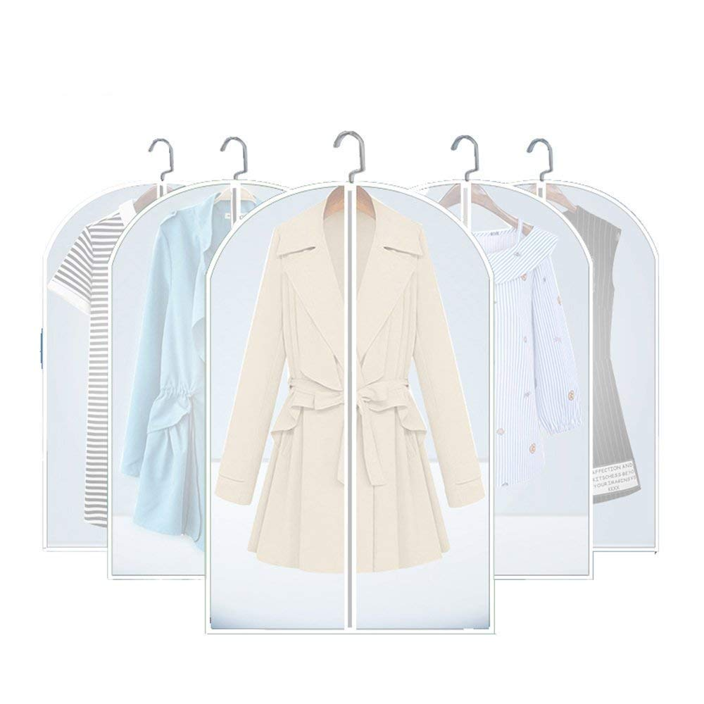 Flee 5 Pack Garment Bag,24'' x 59'' Hanging Suit Bags Clear Cover Foldable Breathable Moth-Proof Closet Storage with Sturdy Full Zipper Dustproof Bag for Dresses Clothes Travel
