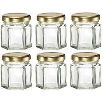 Nakpunar 6 Pcs 15 Oz Mini Hexagon Glass Jars For Jam Honey Wedding