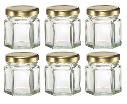 Nakpunar 6 pcs , 1.5 oz Mini Hexagon Glass Jars for Jam, Honey, Wedding Favors, Shower Favors, Baby Foods, DIY Magnetic Spice Jars by Nakpunar (Image #3)