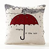 A.B Crew Creative British Style 2 in 1 Cotton Linen Pillow Quilt Blanket Lumbar Supports Throw Pillow Back Cushion(Singing in the rain)