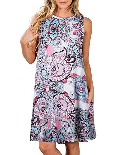 - ZESICA Women's Summer Sleeveless Damask Print Pocket Loose T-Shirt Dress Pink Floral Small