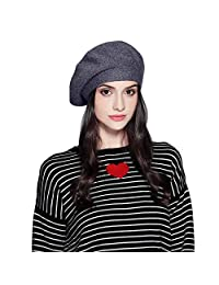 WASHIEN Wool Beret Knitted for Women and Girls, Knitted Cap French Classic Beret for Autumn Winter