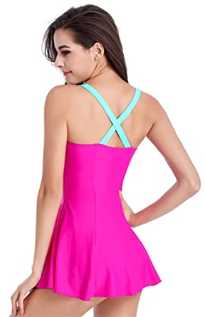 9053a297e41 Amazon.com  Girls   Ladies Modesty One Piece Spa Padded Swimming Costume  Surfing Suit with Skirt  Clothing