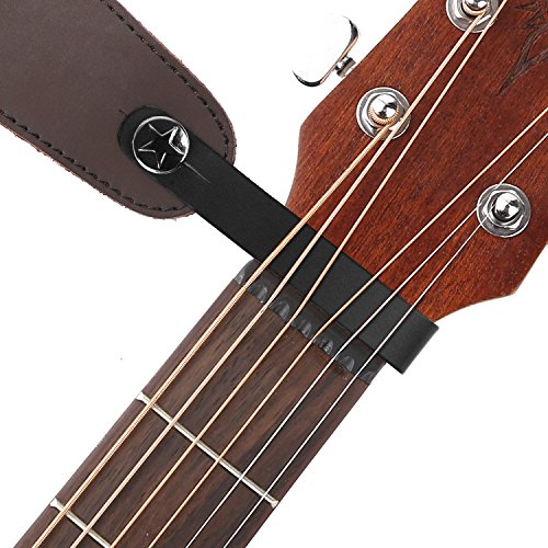 Anwenk Acoustic Guitar Strap Button Guitar Strap Locks Leather Headstock Adapter Strap Lock Button,Top Grade,Black
