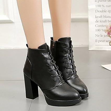 Zapatos de mujer invierno PU Confort Moda Puntera redonda botas Botas/ botines botas de tobillo