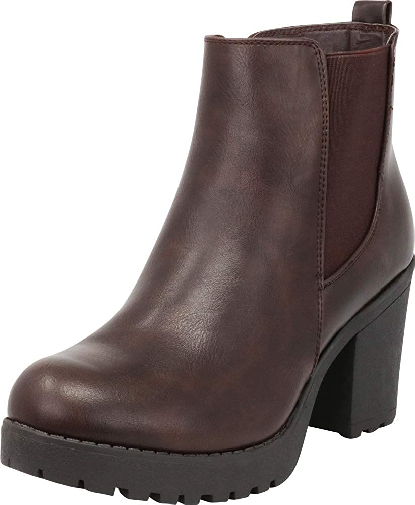Brown Pu Cambridge Select Women's Chelsea Stretch Chunky Lug Sole Platform Block Heel Ankle Bootie