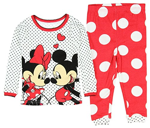Disney Baby Girls' Mickey and Minnie Mouse 2 Piece Cotton Pajama Sleepwear Set (9 Months)