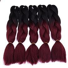 Silike (5 Pieces) 24'' Jumbo Braid Crochet Hair 3X Afro Jumbo Braiding Hair Extension(Black/Ruby)