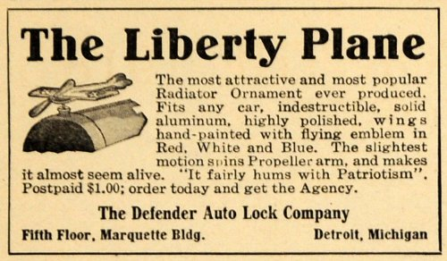 1918 Ad Liberty Plane Defender Auto Lock Car Ornament - Original Print Ad (1918 Auto)