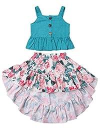 SUPEYA Little Girls Floral Boho Skirt Sets Buttons Tank Top+Irregular Maxi Dress