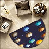 Educational Bath mats for Floors Solar System Planets and The Sun Pictograms Set Astronomical Colorful Design Bathroom Mats Half MoonH 55.1'' xD 82.6'' Multicolor
