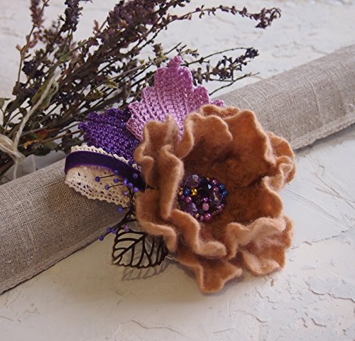 (Felt flower brooch-felted wool brooch-Felt flower pin-Felt brooch-Flower brooch-Felt flower pin-purple-ready to ship )