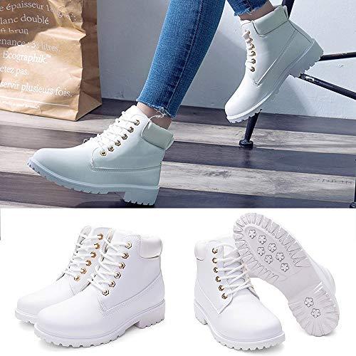 Rond 41 Bout Qhj Cheville Noir À Bottes Filles Blanc Courtes Femmes Mode Lacets Rétro Décontracté Épais Chaussures Pour Solide nTqwSqPBv