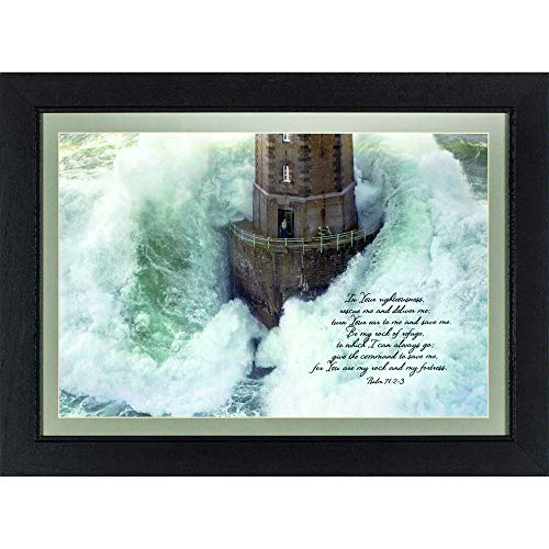 Dicksons in Your Righteousness Rescue Me Lighthouse Crashing Waves Wood Framed Wall Sign