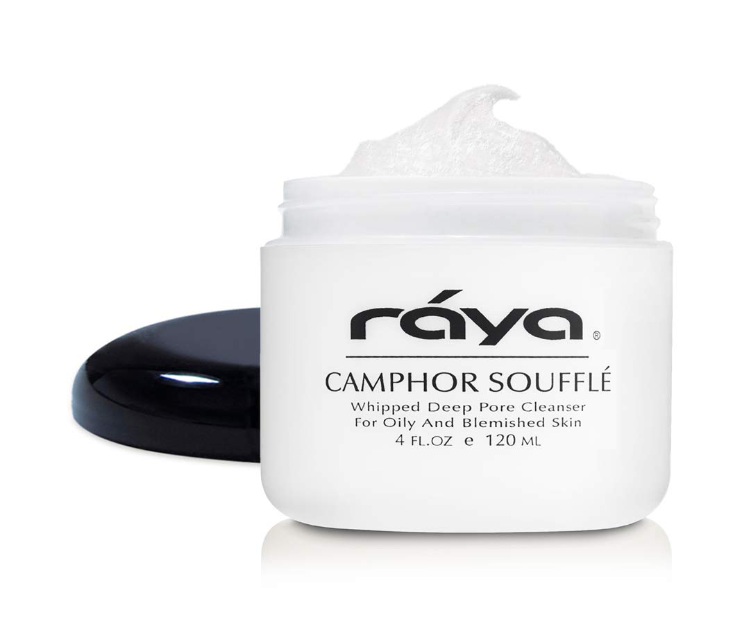 RAYA Camphor Soufflé Facial Cleanser 4 oz (101) | pH Balanced Face Wash for Oily, Blemished, and Break-Out Skin | Helps Reduce White-Heads and Black-Heads and Clear Clogged Pores by Raya