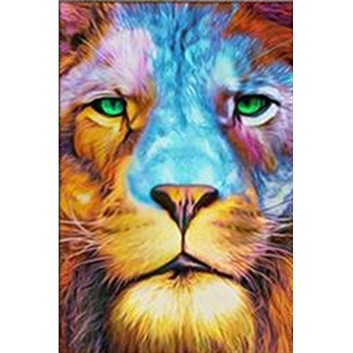 DIY 5D Diamond Painting by Number Kits Full Drill Rhinestone Embroidery Cross Stitch Pictures Arts Craft for Home Wall Decor,Melancholy Lion-10x14In