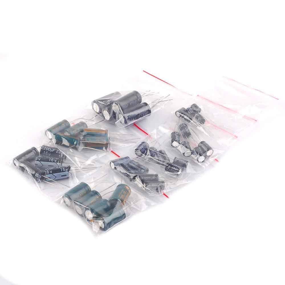40PCS 8Values Each 5pcs Aluminum electrolytic capacitors Assorted Kit 16V 220UF 470UF 680UF 1000UF 1500UF 2200UF 3300UF 4700UF