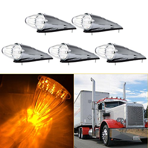 - cciyu 5Pack Clear 17 LED Cab Roof Light Chrome Torpedo Cab Marker Clearance Roof Running Top Light Assembly Replacement fit for Heavy Duty Trucks Kenworth Peterbilt Freightliner Mack