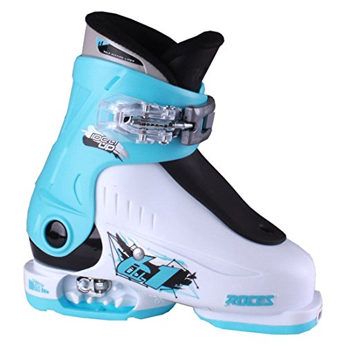 Black Kids Ski Boots - Roces Idea Up G Girls Ski Boots - 16-18/White-Light Blue-Black