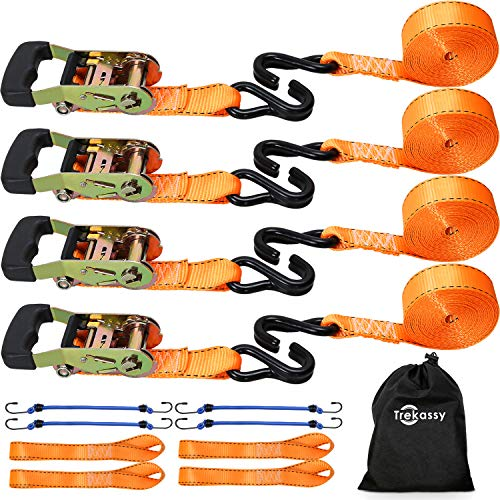Trekassy Ratchet Tie Down Straps Heavy Duty 5,400lbs Break Strength, 4pcs 16ft Cargo Straps with S Hooks for Moving Appliances, Lawn Equipment, Motorcycle