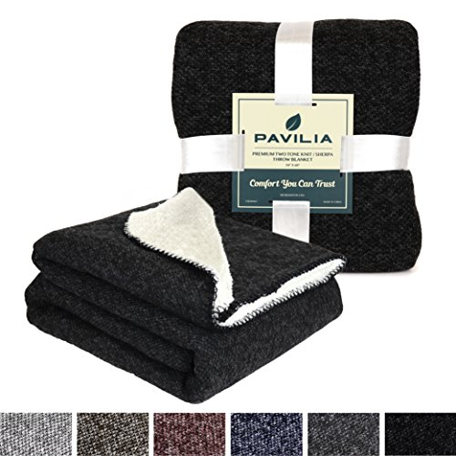 Premium Fleece Microplush Black Sherpa Throw Blanket for Couch, Sofa, Car by Pavilia | Soft, Cozy, Warm, Reversible | Fuzzy Lightweight Microfiber, Two-Tone Knit for All Season Use | 50 x 60 Inches (Sherpa Sofa)