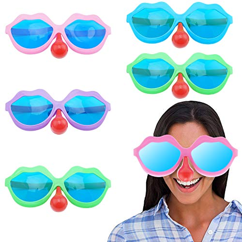 5PCS Funny Sunglasses Costume Cosplay Colorful Party Clown Joker Disguise Glasses with Fake Red Nose Children Christmas Gift -