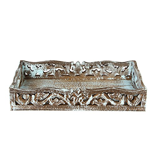 Wooden Floral Carved Serving Tray with Handles Kitchenware Serve ware Accessories for Tea Snack Kitchen Dining – 14 x 8 inches