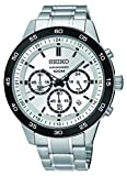 Seiko Men's SKS531 Analog Stainless Steel Silver-Tone Chronograph Dial with Black Stick Watch