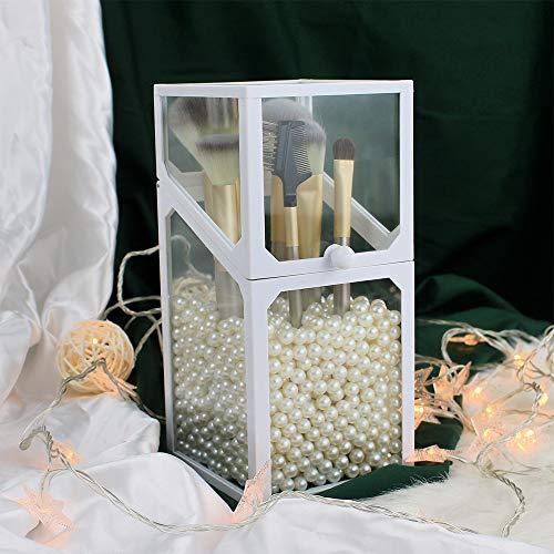 Glass Makeup Brush Holder, Transparent, Dustproof, Makeup Organizer for Vanity or Bathroom  with Pearls