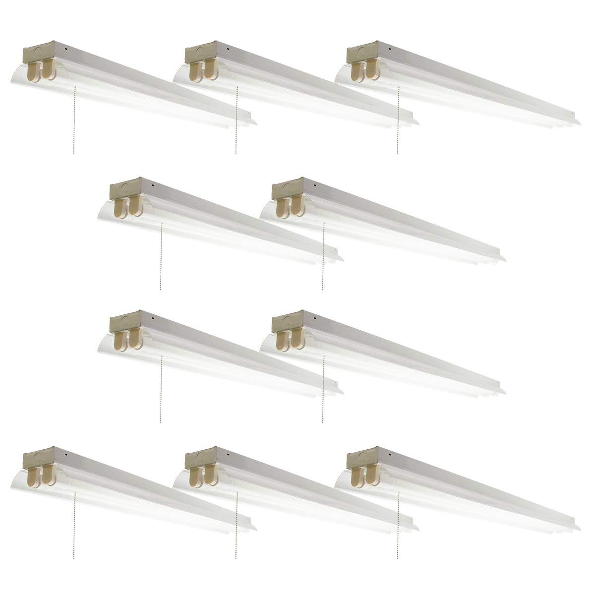 LED蛍光灯専用40形x2灯器具(LED蛍光灯付属) チェーンスイッチあり (10セット) チェーンスイッチあり  B07HNC99GH