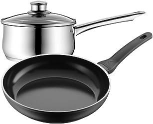WMF福腾宝 意大利进口煎锅不锈钢奶锅套组