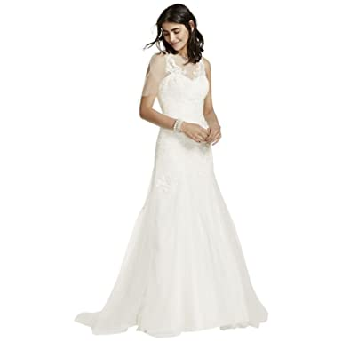 Petite Size Lace Wedding Dress With Illusion Neck And V Back Style