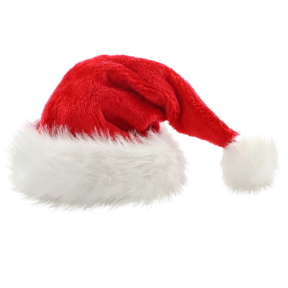 AMSKY Christmas Cap Thick Ultra Soft Plush Cute Santa Claus Holiday Fancy Dress Hat