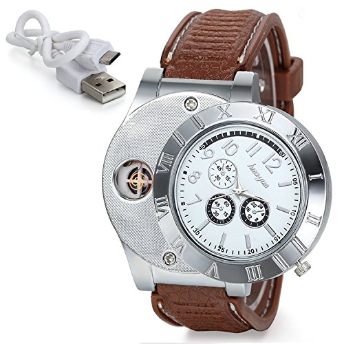 Sporty Quartz Watch Wristwatch with USB Electronic Rechargeable Windproof Flameless Cigarette Lighter (White)