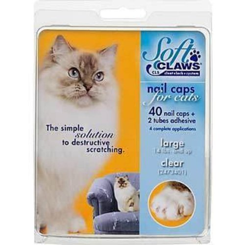 (Soft Claws Nail Caps for Cats, Large Clear CLS (Cleat Lock System) Size 14+ lbs)