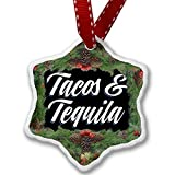 Christmas Ornament Classic design Tacos & Tequila - Porcelain Ornament, 3-Inch