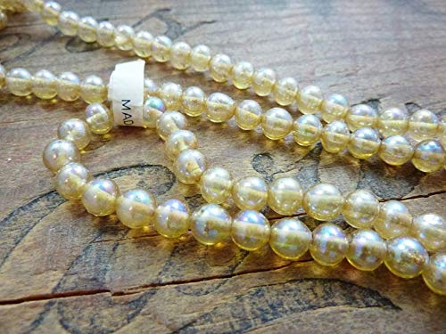 - World's Natural Treasures - Vintage Glass Beads 6mm Luminous Topaz Glass Bead Vintage Japan (95-100 per Strand) - Huge Selection of Beading Accessories