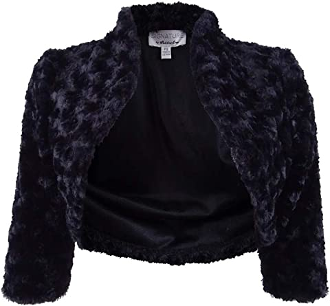 Signature by Robbie Bee Womens Faux Fur Elbow Sleeve Special Occasion Bolero