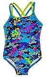 Speedo Big Girls Youth Solid Splice Cross-Back One-Piece Swimsuit (14, Colored splatter)