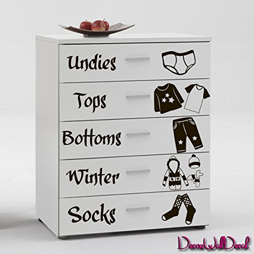 (Wall Decal Names Clothes Nursery Inscriptions Chest of Drawers Cupboard M1607)