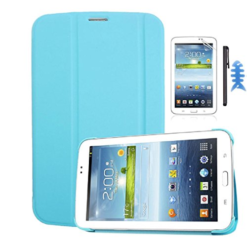 Mchoice Leather Case Stand Cover for Samsung Galaxy Tab 3 7.0 Tablet T210 T211+Film +Stylus +Reel (Blue)