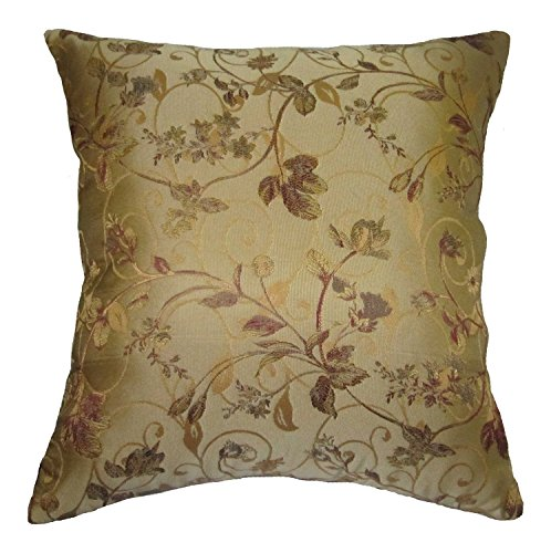 Four Beige, Burgundy, Gold, and Green Floral Brocade Decorative Throw Pillow Covers