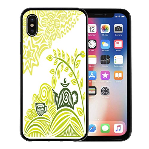 Semtomn Phone Case for Apple iPhone Xs case,Gray Leaf Green Tea Cafeteria Graphic Mint Coffee Aroma for iPhone X Case,Rubber Border Protective Case,Black
