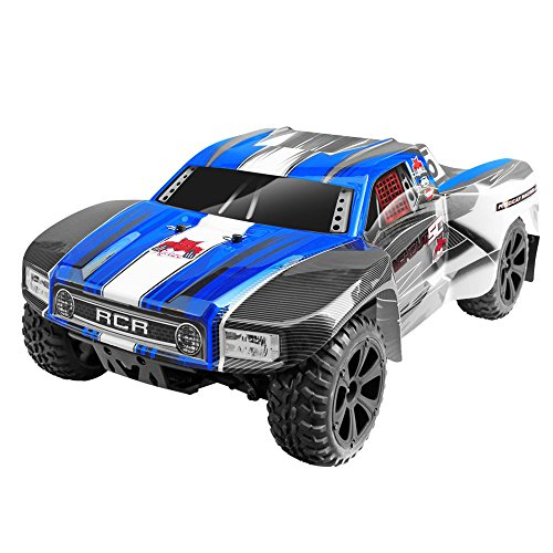 Redcat Racing Blackout SC 1/10 Scale Electric Short Course Truck with Waterproof Electronics Vehicle, Blue -