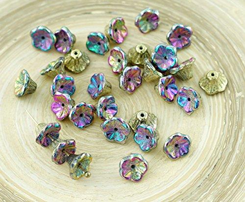 Shaped Bead Caps (40pcs California Green Purple Gold Czech Glass Bell Flower Bead Caps 7mm x 5mm)