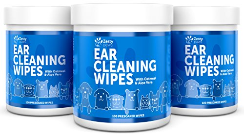 Ear Cleaning Grooming Wipes for Dogs - Cleaner Solution Pads for Ears with Aloe Vera, Chamomile, Oatmeal & Coconut Oil - Great for All Breeds - Lavender Scent for Odors - 100 Presoaked Wipes