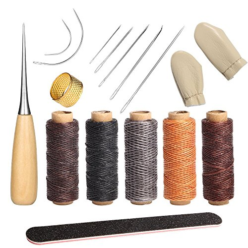 16 PCS Leather Sewing Tools Kit Leathercraft Tools Kit DIY Hand Stitching Kit for Beginners Basic Tool