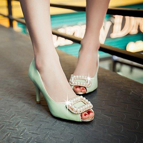 Elegant Mintgrün Gericht Peep Perlen Charm Schuhe Toe Heel High Frauen Carolbar Swvx4q