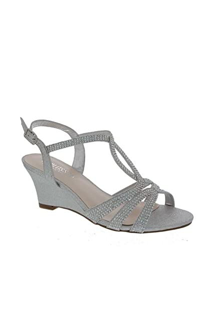 02a96f98bab David s Bridal Strappy Crystal-Embellished Low-Heel Wedges Style FIELD-15