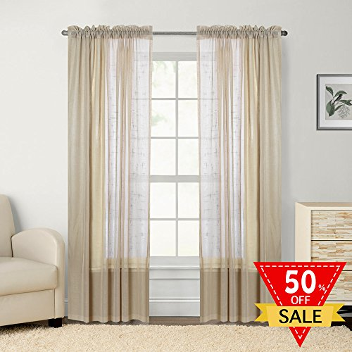 Flamingo P Rod Pocket Semi-Sheer linen Curtains - W52 by L96 Inch- 2 Tie Back Included, Panel Beautiful, Elegant, Natural Light Flow, and Durable Material Warm Taupe